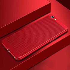Handyhülle Hülle Kunststoff Schutzhülle Punkte Loch Tasche für Oppo A3 Rot