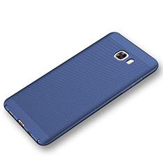 Handyhülle Hülle Kunststoff Schutzhülle Punkte Loch Tasche für Samsung Galaxy C9 Pro C9000 Blau