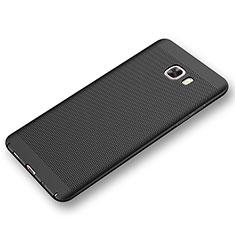 Handyhülle Hülle Kunststoff Schutzhülle Punkte Loch Tasche für Samsung Galaxy C9 Pro C9000 Schwarz