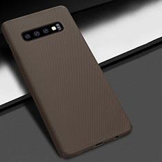 Handyhülle Hülle Kunststoff Schutzhülle Tasche Matt M01 für Samsung Galaxy S10 Plus Braun