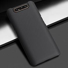 Handyhülle Hülle Kunststoff Schutzhülle Tasche Matt M02 für Samsung Galaxy A80 Schwarz