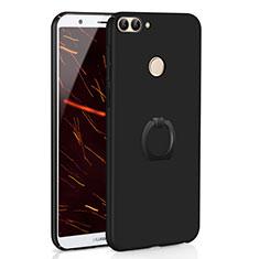 Handyhülle Hülle Kunststoff Schutzhülle Tasche Matt mit Fingerring Ständer A01 für Huawei Enjoy 7S Schwarz