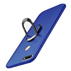 Handyhülle Hülle Kunststoff Schutzhülle Tasche Matt mit Fingerring Ständer A01 für Huawei Enjoy 8 Blau
