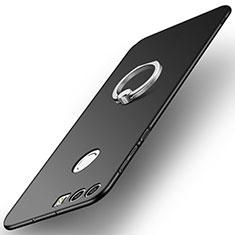 Handyhülle Hülle Kunststoff Schutzhülle Tasche Matt mit Fingerring Ständer A01 für Huawei Honor 8 Schwarz