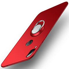Handyhülle Hülle Kunststoff Schutzhülle Tasche Matt mit Fingerring Ständer A01 für Huawei Honor Play Rot