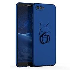 Handyhülle Hülle Kunststoff Schutzhülle Tasche Matt mit Fingerring Ständer A01 für Huawei Honor V10 Blau