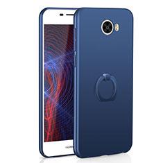 Handyhülle Hülle Kunststoff Schutzhülle Tasche Matt mit Fingerring Ständer A01 für Huawei Y5 II Y5 2 Blau