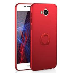 Handyhülle Hülle Kunststoff Schutzhülle Tasche Matt mit Fingerring Ständer A01 für Huawei Y6 (2017) Rot