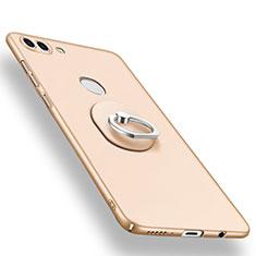 Handyhülle Hülle Kunststoff Schutzhülle Tasche Matt mit Fingerring Ständer A01 für Huawei Y9 (2018) Gold