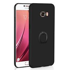 Handyhülle Hülle Kunststoff Schutzhülle Tasche Matt mit Fingerring Ständer A01 für Samsung Galaxy C7 SM-C7000 Schwarz