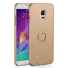 Handyhülle Hülle Kunststoff Schutzhülle Tasche Matt mit Fingerring Ständer A01 für Samsung Galaxy Note 4 Duos N9100 Dual SIM Gold