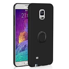 Handyhülle Hülle Kunststoff Schutzhülle Tasche Matt mit Fingerring Ständer A01 für Samsung Galaxy Note 4 Duos N9100 Dual SIM Schwarz