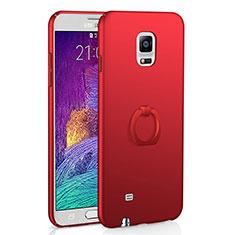 Handyhülle Hülle Kunststoff Schutzhülle Tasche Matt mit Fingerring Ständer A01 für Samsung Galaxy Note 4 SM-N910F Rot