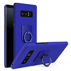 Handyhülle Hülle Kunststoff Schutzhülle Tasche Matt mit Fingerring Ständer A01 für Samsung Galaxy Note 8 Blau
