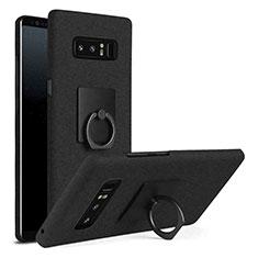 Handyhülle Hülle Kunststoff Schutzhülle Tasche Matt mit Fingerring Ständer A01 für Samsung Galaxy Note 8 Schwarz