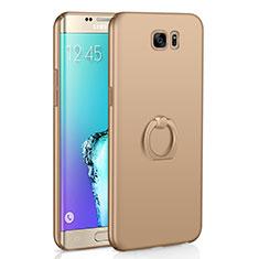 Handyhülle Hülle Kunststoff Schutzhülle Tasche Matt mit Fingerring Ständer A01 für Samsung Galaxy S6 Edge SM-G925 Gold