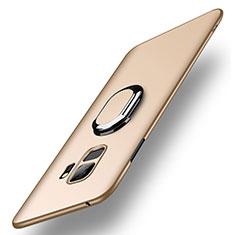 Handyhülle Hülle Kunststoff Schutzhülle Tasche Matt mit Fingerring Ständer A01 für Samsung Galaxy S9 Gold