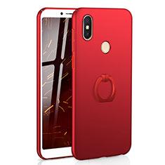 Handyhülle Hülle Kunststoff Schutzhülle Tasche Matt mit Fingerring Ständer A01 für Xiaomi Redmi S2 Rot