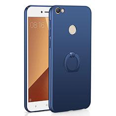 Handyhülle Hülle Kunststoff Schutzhülle Tasche Matt mit Fingerring Ständer A01 für Xiaomi Redmi Y1 Blau