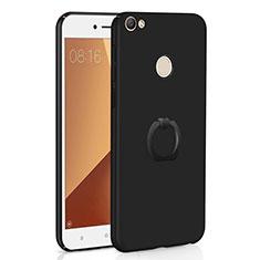 Handyhülle Hülle Kunststoff Schutzhülle Tasche Matt mit Fingerring Ständer A01 für Xiaomi Redmi Y1 Schwarz