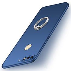 Handyhülle Hülle Kunststoff Schutzhülle Tasche Matt mit Fingerring Ständer A02 für Huawei Enjoy 8 Blau