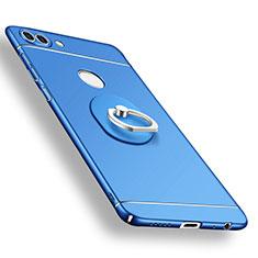 Handyhülle Hülle Kunststoff Schutzhülle Tasche Matt mit Fingerring Ständer A02 für Huawei P Smart Blau