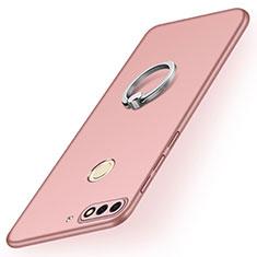 Handyhülle Hülle Kunststoff Schutzhülle Tasche Matt mit Fingerring Ständer A02 für Huawei Y7 (2018) Rosegold