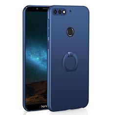 Handyhülle Hülle Kunststoff Schutzhülle Tasche Matt mit Fingerring Ständer A03 für Huawei Y7 (2018) Blau