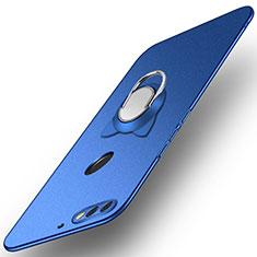 Handyhülle Hülle Kunststoff Schutzhülle Tasche Matt mit Fingerring Ständer A04 für Huawei Enjoy 8 Blau