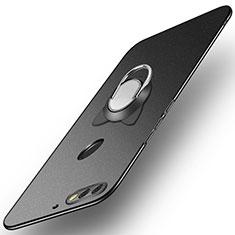 Handyhülle Hülle Kunststoff Schutzhülle Tasche Matt mit Fingerring Ständer A04 für Huawei Enjoy 8 Schwarz