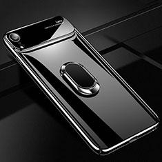 Handyhülle Hülle Kunststoff Schutzhülle Tasche Matt mit Magnetisch Fingerring Ständer A01 für Apple iPhone XR Schwarz