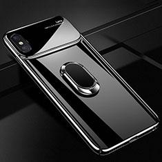 Handyhülle Hülle Kunststoff Schutzhülle Tasche Matt mit Magnetisch Fingerring Ständer A01 für Apple iPhone Xs Max Schwarz