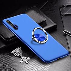 Handyhülle Hülle Kunststoff Schutzhülle Tasche Matt mit Magnetisch Fingerring Ständer A01 für Huawei Honor 20 Pro Blau
