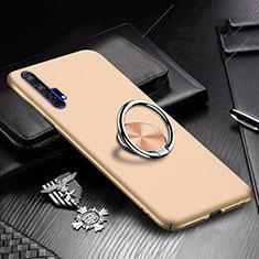 Handyhülle Hülle Kunststoff Schutzhülle Tasche Matt mit Magnetisch Fingerring Ständer A01 für Huawei Honor 20 Pro Gold
