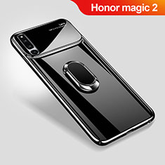 Handyhülle Hülle Kunststoff Schutzhülle Tasche Matt mit Magnetisch Fingerring Ständer A01 für Huawei Honor Magic 2 Schwarz