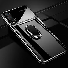 Handyhülle Hülle Kunststoff Schutzhülle Tasche Matt mit Magnetisch Fingerring Ständer A01 für Huawei Nova 6 5G Schwarz