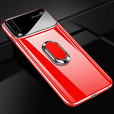 Handyhülle Hülle Kunststoff Schutzhülle Tasche Matt mit Magnetisch Fingerring Ständer A01 für Huawei P30 Rot