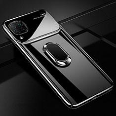 Handyhülle Hülle Kunststoff Schutzhülle Tasche Matt mit Magnetisch Fingerring Ständer A01 für Huawei P40 Lite Schwarz