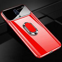 Handyhülle Hülle Kunststoff Schutzhülle Tasche Matt mit Magnetisch Fingerring Ständer A01 für Oppo K3 Rot