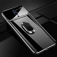 Handyhülle Hülle Kunststoff Schutzhülle Tasche Matt mit Magnetisch Fingerring Ständer A01 für Oppo Realme X Schwarz