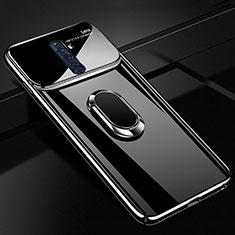 Handyhülle Hülle Kunststoff Schutzhülle Tasche Matt mit Magnetisch Fingerring Ständer A01 für Oppo Reno2 Z Schwarz