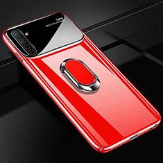 Handyhülle Hülle Kunststoff Schutzhülle Tasche Matt mit Magnetisch Fingerring Ständer A01 für Realme X2 Rot