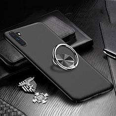 Handyhülle Hülle Kunststoff Schutzhülle Tasche Matt mit Magnetisch Fingerring Ständer A01 für Samsung Galaxy Note 10 5G Schwarz