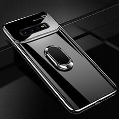 Handyhülle Hülle Kunststoff Schutzhülle Tasche Matt mit Magnetisch Fingerring Ständer A01 für Samsung Galaxy S10 Plus Schwarz