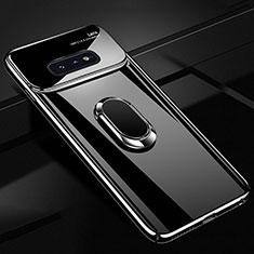 Handyhülle Hülle Kunststoff Schutzhülle Tasche Matt mit Magnetisch Fingerring Ständer A01 für Samsung Galaxy S10e Schwarz
