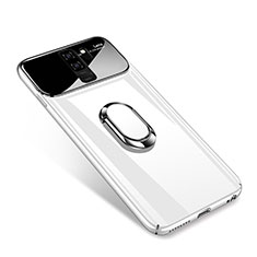 Handyhülle Hülle Kunststoff Schutzhülle Tasche Matt mit Magnetisch Fingerring Ständer A01 für Samsung Galaxy S9 Plus Weiß