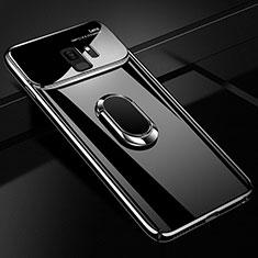 Handyhülle Hülle Kunststoff Schutzhülle Tasche Matt mit Magnetisch Fingerring Ständer A01 für Samsung Galaxy S9 Schwarz