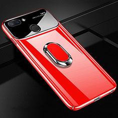 Handyhülle Hülle Kunststoff Schutzhülle Tasche Matt mit Magnetisch Fingerring Ständer A01 für Xiaomi Mi 8 Lite Rot