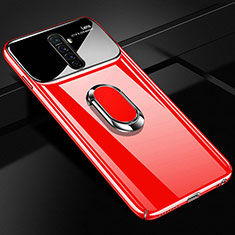 Handyhülle Hülle Kunststoff Schutzhülle Tasche Matt mit Magnetisch Fingerring Ständer A02 für Oppo Reno Ace Rot