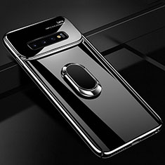 Handyhülle Hülle Kunststoff Schutzhülle Tasche Matt mit Magnetisch Fingerring Ständer A02 für Samsung Galaxy S10 Schwarz